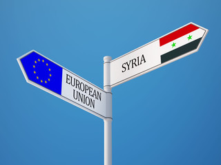 Syria European Union  Sign Flags Concept
