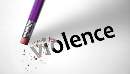 Eraser deleting the word Violence