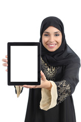 Arab saudi emirates happy woman showing a tablet screen