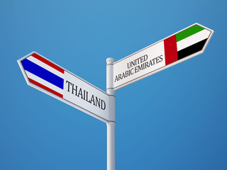 Thailand United Arab Emirates.  Sign Flags Concept