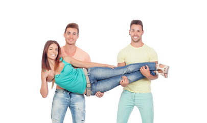 Two boyfriends holding a beautiful girl