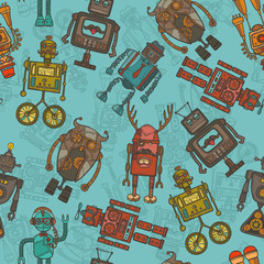 Hipster robot color seamless pattern