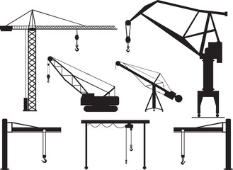 Set of cranes illustrated on white
