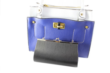Blue bag and black purse