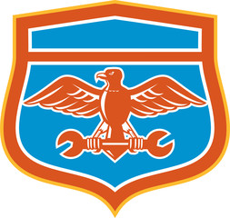 Eagle Holding Spanner Shield Retro