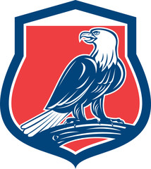Bald Eagle Perching Shield Retro