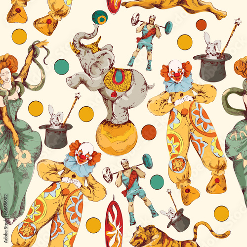 Circus doodle sketch color seamless pattern - 66686812