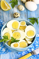 Boiled chicken and quail eggs.