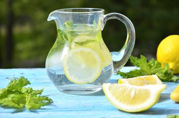 Lemonade in the pitcher.