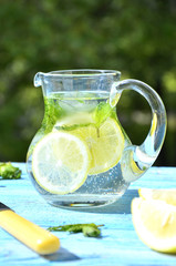 Lemonade in the pitcher.