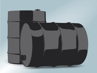Two black oil barrels on bright blue background.
