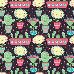 Seamless pattern with flowers in flowerpots