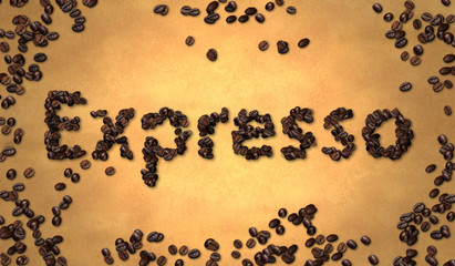 Expresso Coffee Bean on Old Paper