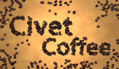Civet Coffee Bean on Old Paper