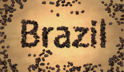 Brazil Coffee Bean on Old Paper
