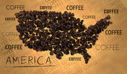 America map Coffee Bean producer on Old Paper