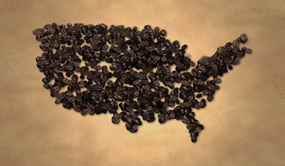 America map Coffee Bean on Old Paper