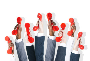 Business People Holding Red Phone