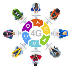 People Social Networking and 4G Concept