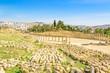 Ruins of Oval Forum in Gerasa, modern Jerash, Jordan.
