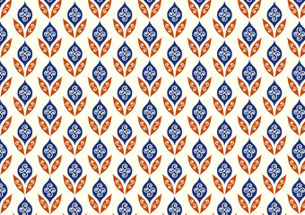 Orange Retro Flower and Leaves Pattern in Classic Style