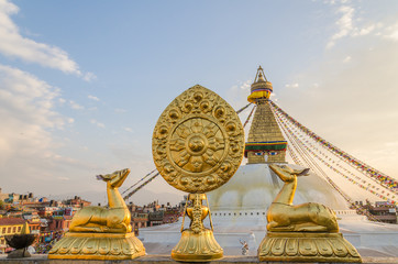 Golden brahma symbol in front of Bodhnath stupa