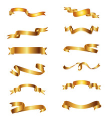 Collection of golden vector ribbons, Gold Set