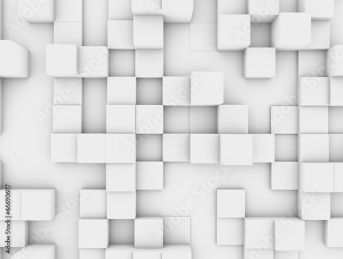 Abstract white cubic wall