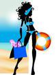 In spiaggia con bikini