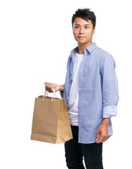 Asian man with shopping bag