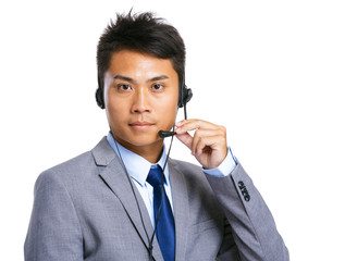Male customer services operator
