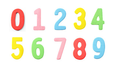 Collections of Numbers wood painted in colorful on white.