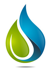 Natural Health water leaf, nature waterdrop icon