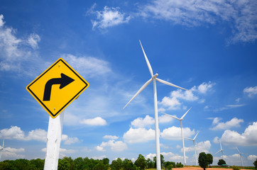 Wind Turbine Fields with Blue Sky and Cloudscape