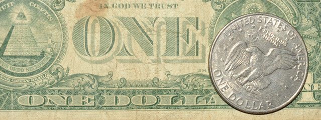 One Dollar Note And Coin