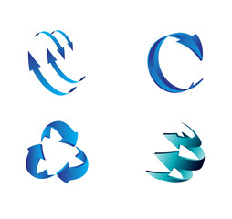 Set of blue 3D Arrow Signs symbol vector collection