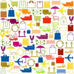 shopping icons background