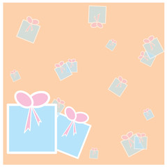 Vector gift box on the cream background