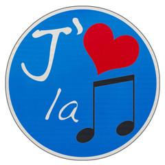 """panneau """"J'aime la musique"""""""