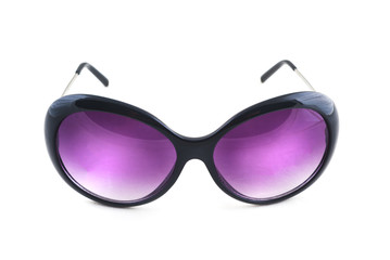 Stylish female sunglasses on white