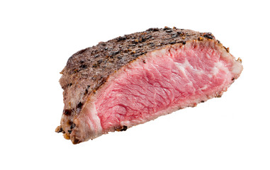 Roasted beef steak on a white background
