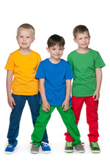 Fashion little boys against the white background