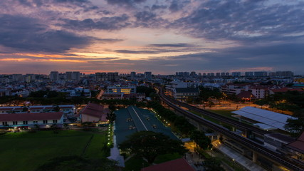 Time Lapse of Blue Hour into Sunrise in Singapore Bugis Street