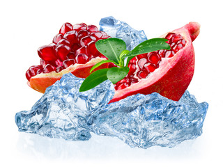 Pomegranate fruit with ice isolated on white background