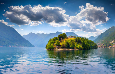 View of the island Comacina on Lake Como. Alps, Italy.