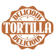 Delicious tortilla stamp or label