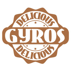 Delicious gyros stamp or label