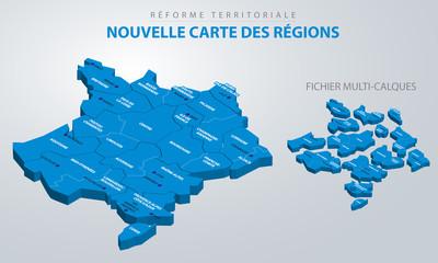 Réforme territoriale - Nouvelle carte des régions - isométrique