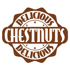 Delicious chestnuts stamp or label