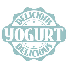 Delicious yogurt stamp or label